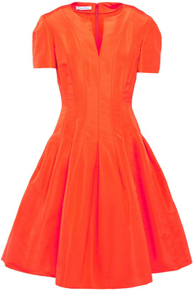 Oscar de la Renta Pleated Duchesse Silk-satin Dress