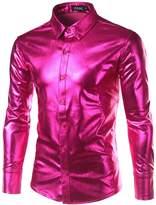 JOGAL Mens Metallic Silver Nightclub Styles Long Sleeves Button Down Dress Shirts Medium