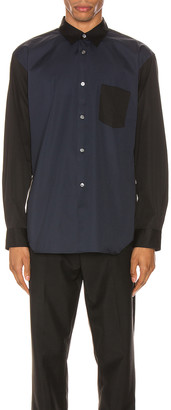 Comme des Garcons Forever Forever Long Sleeve Shirt in Black & Navy | FWRD