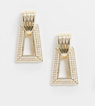 Reclaimed Vintage inspired pearl doorknocker earrings