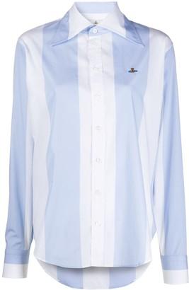 Vivienne Westwood Logo Embroidered Striped Shirt