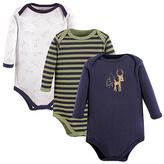 Luvable Friends Navy & Green Boy Deer Bodysuit Set - Infant
