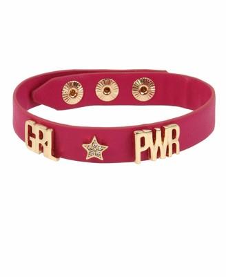 BCBGeneration GRL PWR Affirmation Leather-Look Snap Bracelet