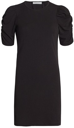 Frame Gathered Puff-Sleeve Dress