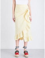 Vivetta Camoscio ruffled cotton-seersucker midi skirt