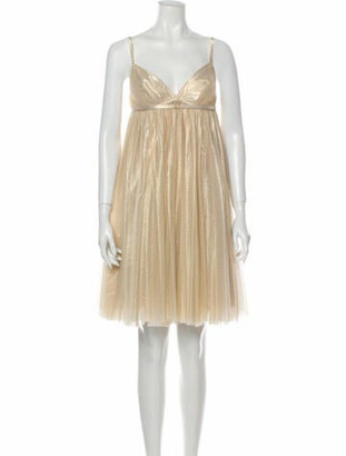Plein Sud Jeans V-Neck Knee-Length Dress Gold