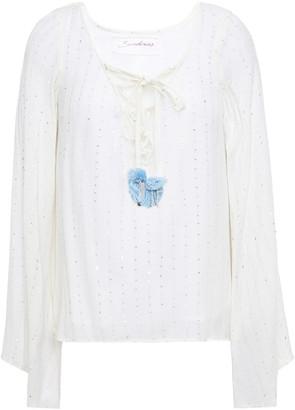 SUNDRESS Anais Embellished Gauze Top