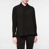 Paul Smith Women's Black Silk Shirt With Dropped Hem