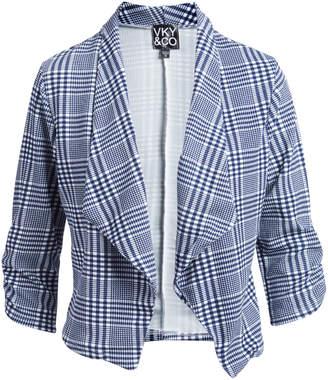 Vky & Co VKY & CO Women's Blazers NAVY - Navy & White Gingham Three-Quarter Sleeve Open Blazer - Women & Plus