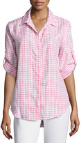 Joan Vass Button-Up Gingham Blouse, White/Coral