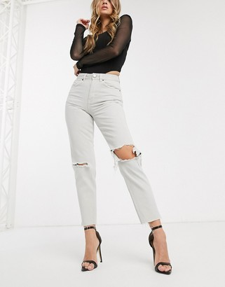 Asos Design DESIGN Ritson Original Mom jeans in concrete wash with rips-Orange