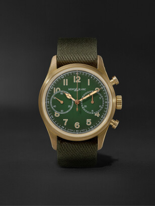 Montblanc 1858 Geosphere Limited Edition Automatic Chronograph 42mm Bronze and NATO Watch, Ref No. 119908 - Men - Green