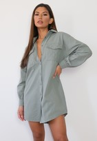 Missguided Khaki Quilted Pocket Shirt Dress