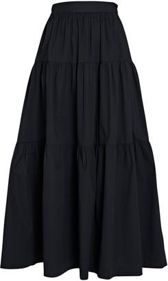 STAUD Sea Tiered Poplin Midi Skirt