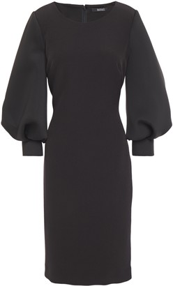 Badgley Mischka Gathered Paneled Scuba And Stretch-crepe Dress