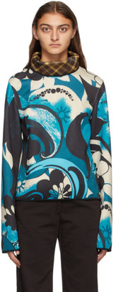 Dries Van Noten Blue Scuba Contrast Turtleneck