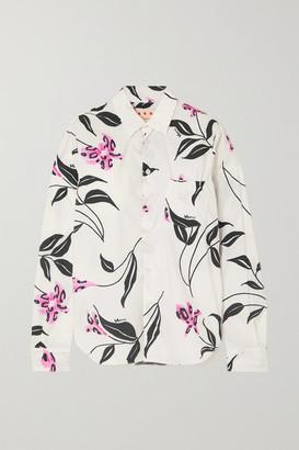 Marni - Ruched Floral-print Cotton-poplin Shirt - White