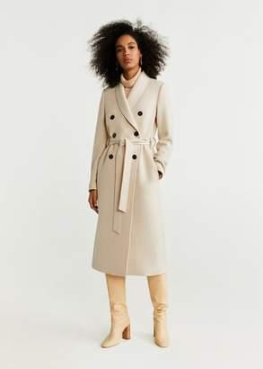 MANGO Belted wool coat medium heather grey - XXS - Women