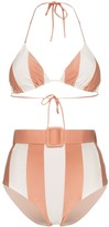 Adriana Degreas Porto striped belted waist bikini set