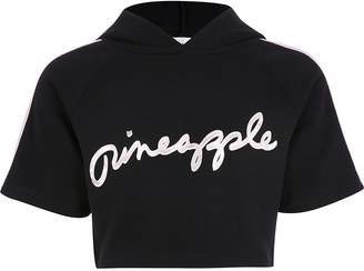 River Island Girls Pineapple black cropped hoodie