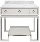 The Well Appointed House World's Away Owen White Vanity with Nickel Base