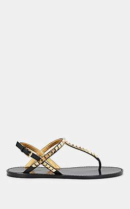 Valentino Garavani Women's Rockstud Leather Thong-Strap Sandals - Black