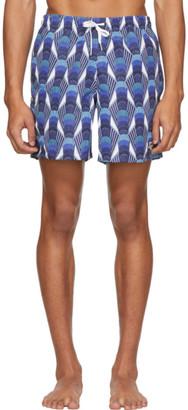 Bather Blue Geometric Art Deco Swim Shorts