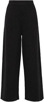 Victoria Victoria Beckham Metallic Stretch-knit Wide-leg Pants