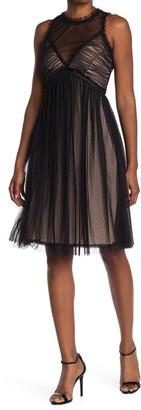 Max Studio Illusion Mesh Sleeveless Empire Waist Dress