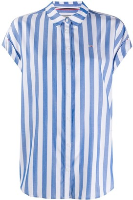 Tommy Jeans Capped-Sleeve Striped Shirt