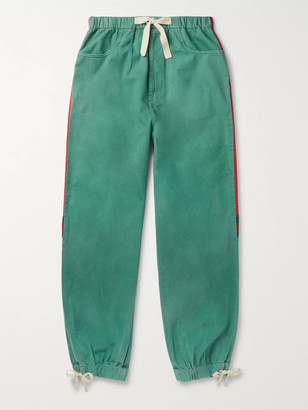 Gucci Webbing-Trimmed Shell and Washed-Cotton Track Pants - Men - Green