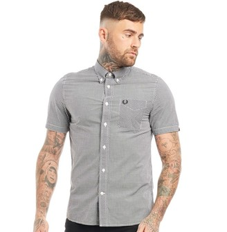 Fred Perry Mens Classic Gingham Short Sleeve Shirt Black