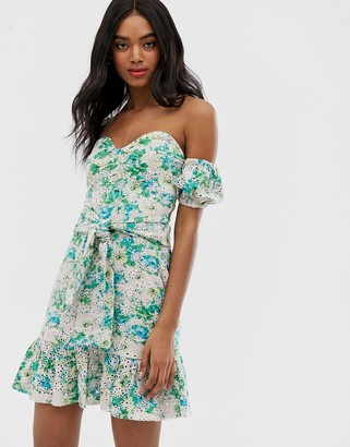 Asos Design DESIGN printed broderie sundress with underwire-Multi