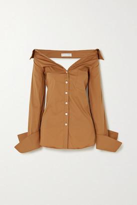 Caroline Constas Amaree Off-the-shoulder Cutout Cotton-blend Poplin Top - Tan