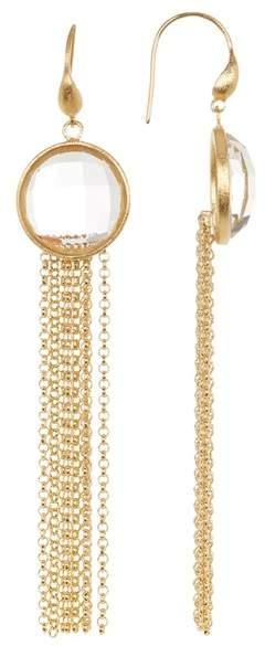 Rivka Friedman Faceted Rock Crystal Tassel Drop Earrings