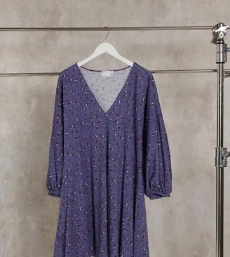 ASOS DESIGN Curve mini v neck swing dress in blue ditsy floral