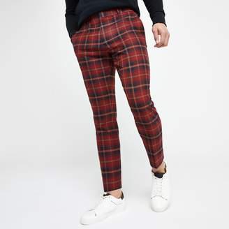 River Island Mens Red tartan check smart skinny crop trousers