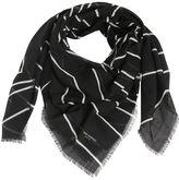 Saint Laurent Star Printed Fringed Wool Scarf
