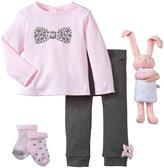 Petit Lem 5 Piece Sweet Bunny Set (Baby) - Pink/Gray-3 Months