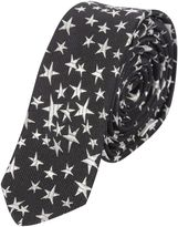 Saint Laurent Black Embossed Star Tie