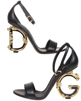 Dolce & Gabbana Devotion Sandal In Black Leather