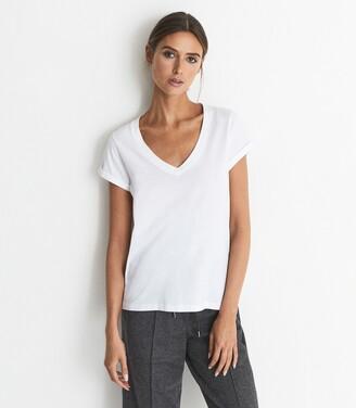 Reiss Luana - Cotton-jersey V-neck T-shirt in White