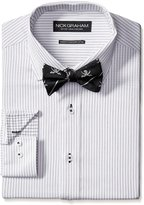 """Nick Graham Men's Cotton Twill Dress Shirt with Jolly Rodger Bow Tie, Grey, XXLarge: 18/18.5"""" Neck, 36/37"""" Sleeve"""
