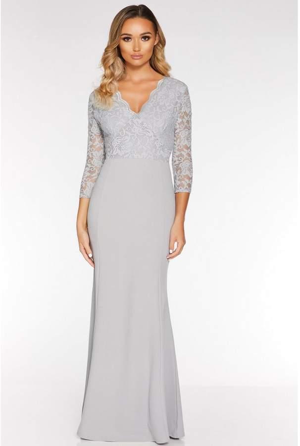 Wedding Dress Quiz.Grey Glitter Lace 3 4 Sleeve Maxi Dress
