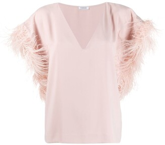 P.A.R.O.S.H. Oversized Feather Sleeved Top