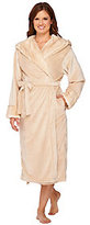 As Is Dennis Basso Snuggly Plush & Faux Fur Hooded Robe