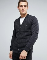 Fred Perry Texture Knit Cardigan Checkerboard In Grey Marl