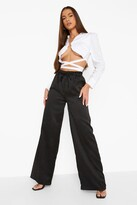 Thumbnail for your product : boohoo Wide Leg Satin Luxe Jogger