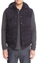 Moncler Men's Quilted Down Vest With Chamois Suede Front