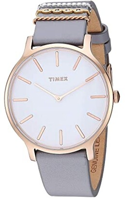Timex 38 mm Transcend Leather Strap (Gray/White) Watches